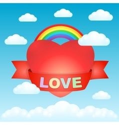Big love heart in the sky vector image vector image