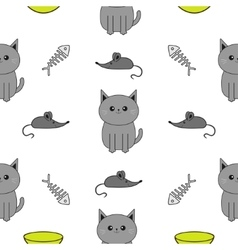 Cute gray cartoon cat Bowl fish bone mouse toy vector image