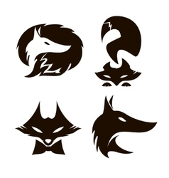 Fox set of silhouettes vector image