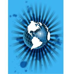 white globe on blue vector image vector image