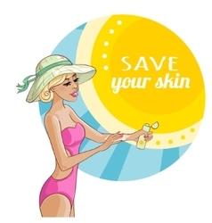 Beautiful girl applying sunscreen on skin vector image