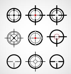 Crosshair gun sight target icons set vector image