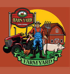 farmer pose with his tractor and farm yard vector image vector image
