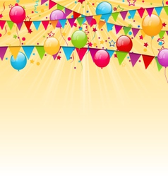 holiday background with colorful balloons hanging vector image vector image
