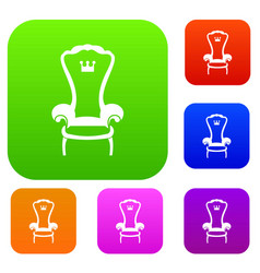 King throne chair set collection vector