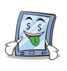 money mouth tablet character cartoon style vector image vector image
