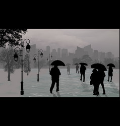 people silhouettes at rainy day with umbrellas vector image