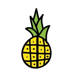 Pineapple fresh fruit drawing icon vector