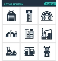 Set of modern icons City of industry vector image