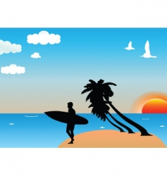 tropical surf vector image