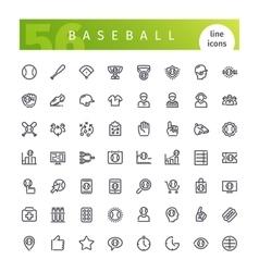 Baseball Line Icons Set vector image vector image