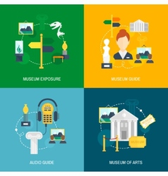 Museum icons flat vector image