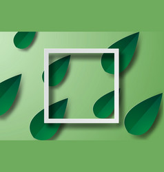 paper art of frame with green leaf bannerswhite vector image