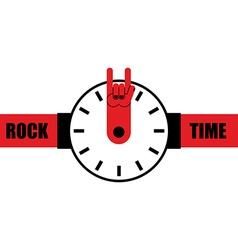 Rock time Watch as arrow rock hand sign Wrist vector image vector image