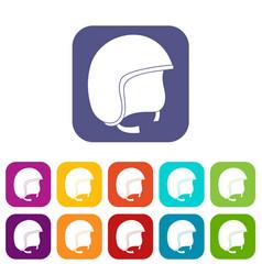 Safety helmet icons set flat vector