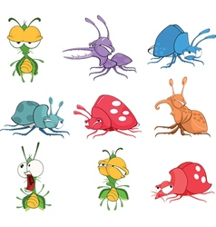 Set Cartoon Funny Bugs vector image vector image
