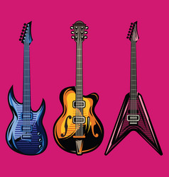 Set of color electric guitars for poster vector