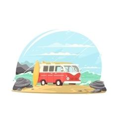 Surfing van with boards vector image