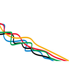 abstract curly line with olympics color isolated vector image