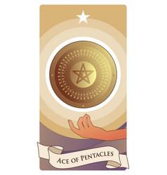 Aces tarot cards pentacles golden shield vector