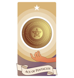 Aces tarot cards pentacles golden shield with vector