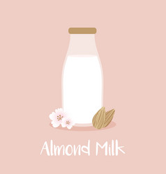 Almond milk bottle with almond seeds and flowers vector