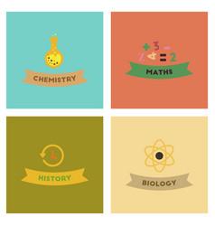assembly flat icons history math biology vector image