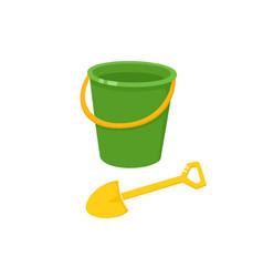 Baby bucket sand shovel toy vector