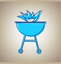 Barbecue with fire sign sky blue icon vector