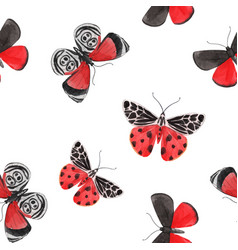 Beautiful watercolor red butterfly seamless vector