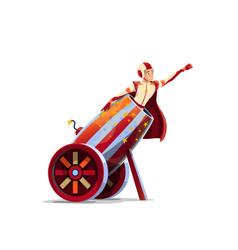 Big top circus human cannonball cartoon vector