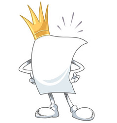blank white paper with king crown vector image