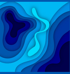 blue abstract paper wave layer cut background vector image
