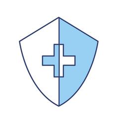 blue medical shield cartoon vector image
