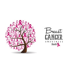 Breast Cancer awareness concept ribbon tree design vector