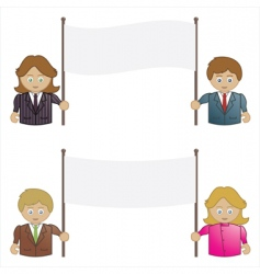 business people holding signs vector image