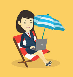 Business woman working on laptop at the beach vector