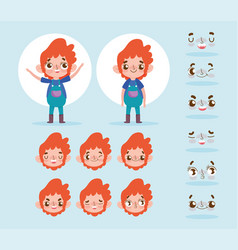 cartoon character animation little boy face vector image