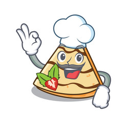 Chef crepe character cartoon style vector