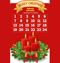 christmas advent calendar with wreath candles vector image