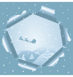 Christmas background through paper vector image