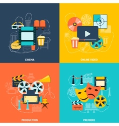 Cinema flat icons composition vector