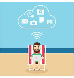 Cloud computing technology connection concept vector