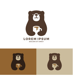 coffee bear logo hold mug logo vector image