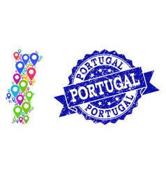 collage map of portugal with map markers and vector image