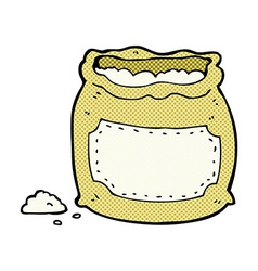 Comic cartoon bag of flour vector