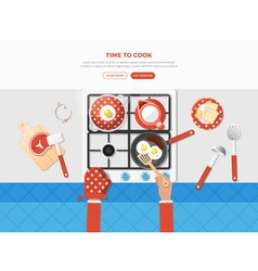 Cooking top view poster vector