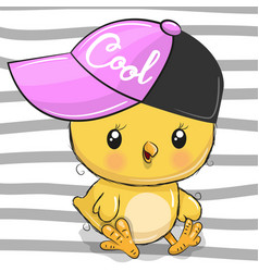 Cute chicken with a pink cap vector