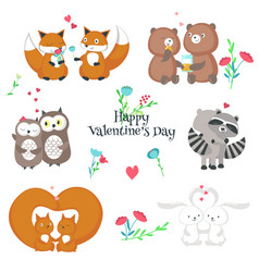 cute happy animals couples isolated vector image