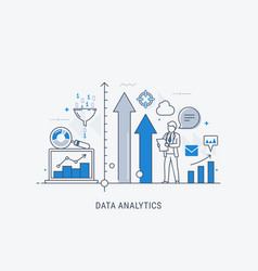 data analytics website banner thin line vector image